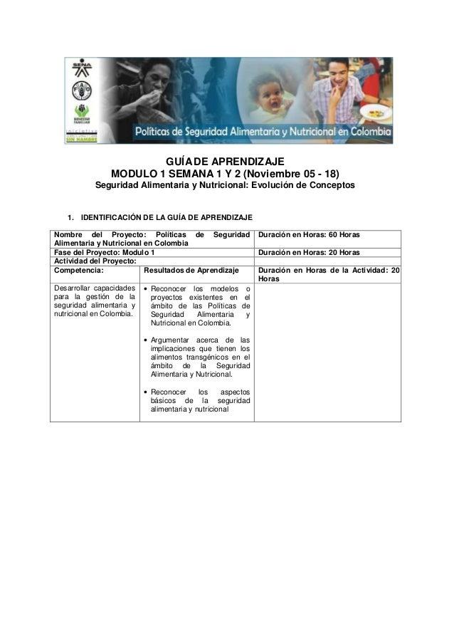 GUÍA DE APRENDIZAJE                MODULO 1 SEMANA 1 Y 2 (Noviembre 05 - 18)            Seguridad Alimentaria y Nutriciona...