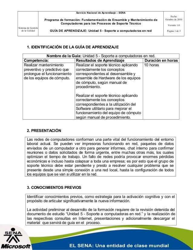 Sistema de Gestión de la Calidad Servicio Nacional de Aprendizaje – SENA Programa de formación: Fundamentación de Ensamble...