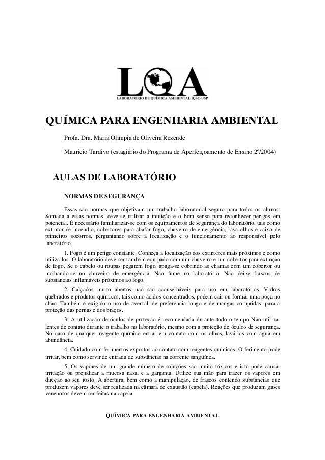 QUÍMICA PARA ENGENHARIA AMBIENTAL Profa. Dra. Maria Olímpia de Oliveira Rezende Mauricio Tardivo (estagiário do Programa d...