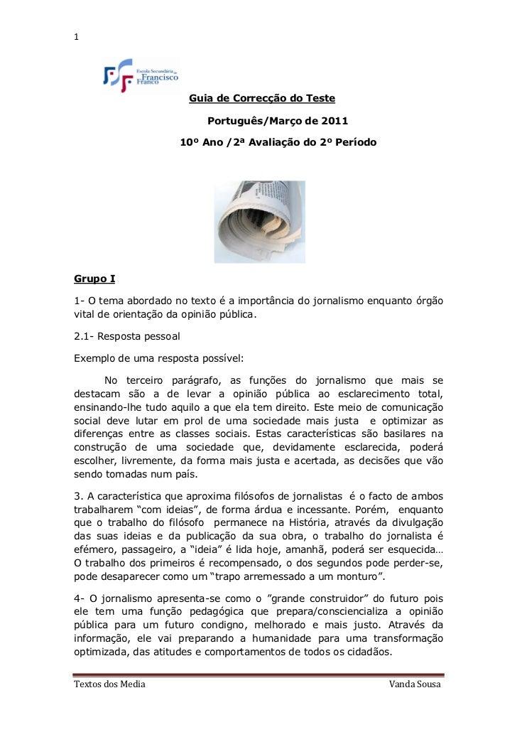 1                        Guia de Correcção do Teste                           Português/Março de 2011                     ...