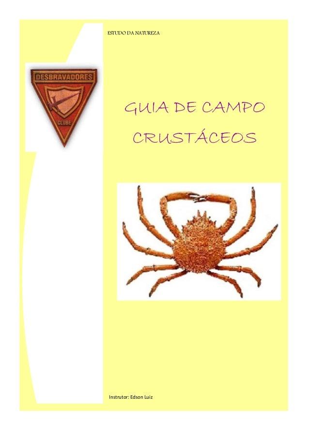 GUIA DE CAMPO CRUSTÁCEOS ESTUDO DA NATUREZA Instrutor: Edson Luiz