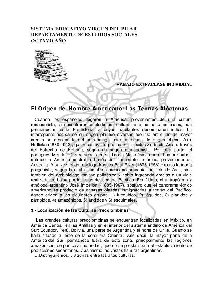 SISTEMA EDUCATIVO VIRGEN DEL PILAR<br />DEPARTAMENTO DE ESTUDIOS SOCIALES<br />OCTAVO AÑO<br />TRABAJO EXTRACLASE INDIVIDU...