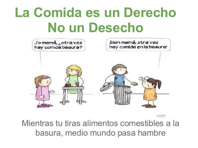 La Comida es un Derecho     No un Desecho Mientras tu tiras alimentos comestibles a la    basura, medio mundo pasa hambre