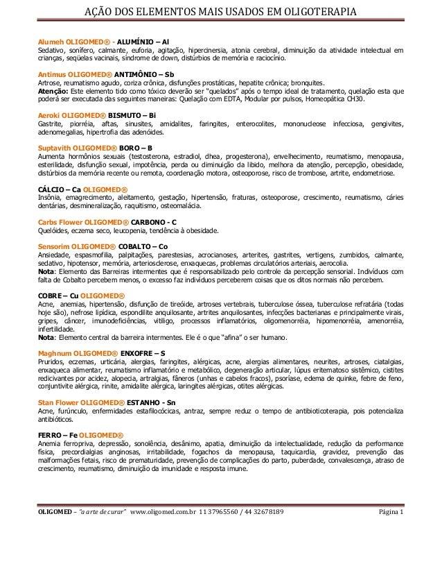 """AÇÃO DOS ELEMENTOS MAIS USADOS EM OLIGOTERAPIA OLIGOMED – """"a arte de curar"""" www.oligomed.com.br 11 37965560 / 44 32678189 ..."""