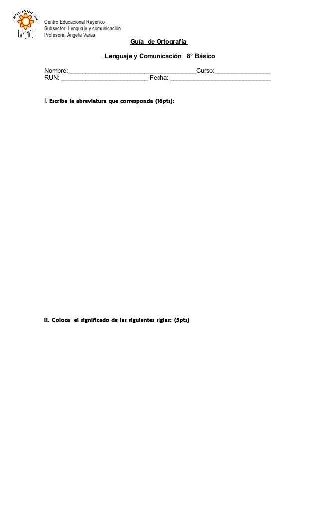 Centro Educacional RayencoSubsector: Lenguaje y comunicaciónProfesora: Ángela Varas                                     Gu...