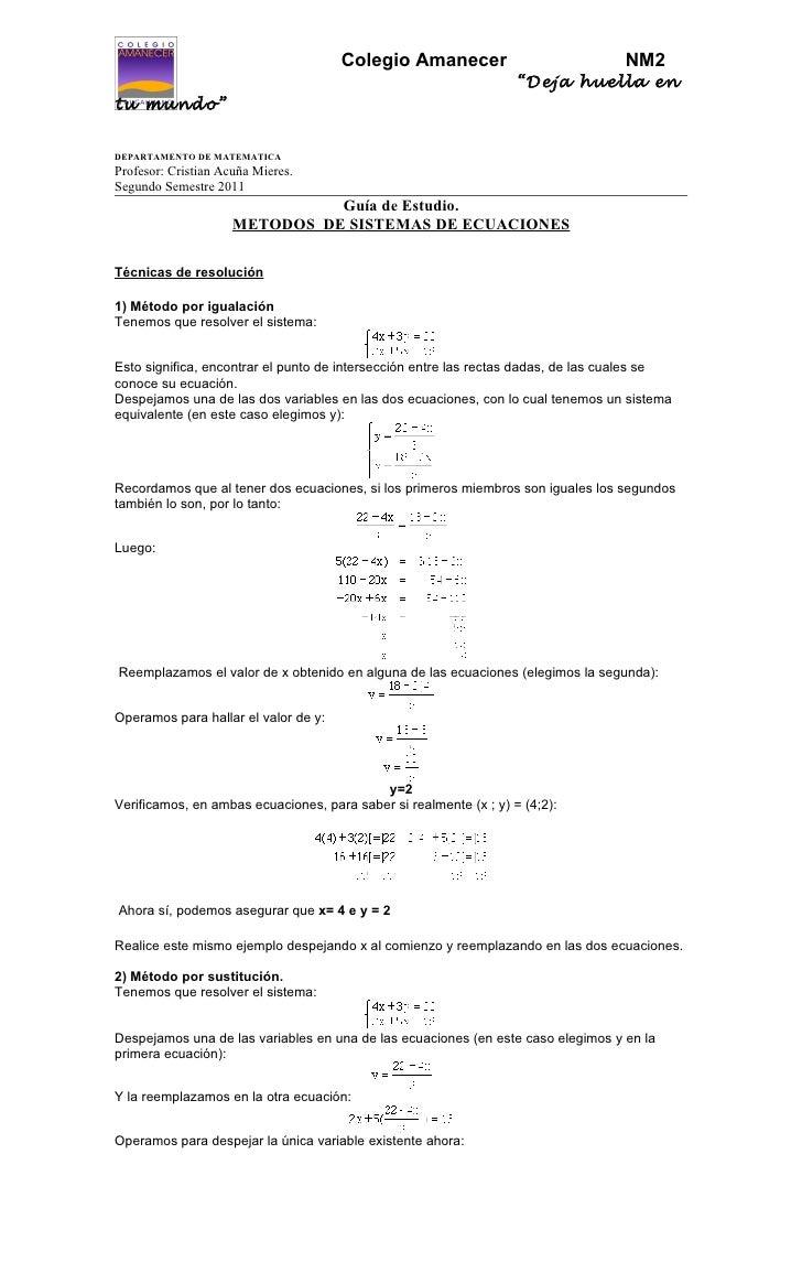 Guia de estudio - sist. de igualacion , sustitucion y reduccion
