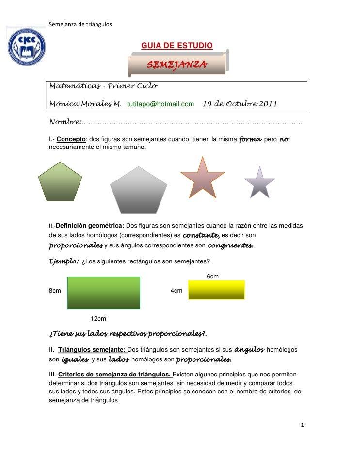 Semejanza de triángulos                                GUIA DE ESTUDIO                                  SEMEJANZAMatemátic...
