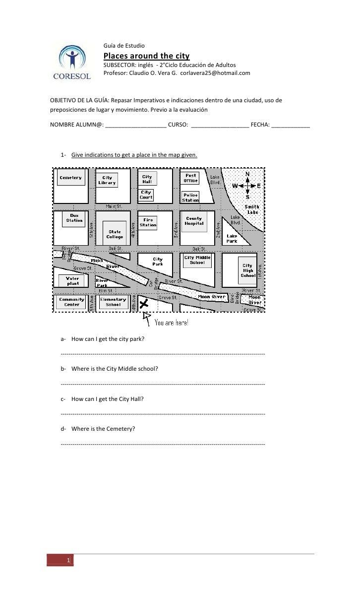 Guía de EstudioPlaces around the citySUBSECTOR: inglés  - 2°Ciclo Educación de AdultosProfesor: Claudio O. Vera G.  corlav...