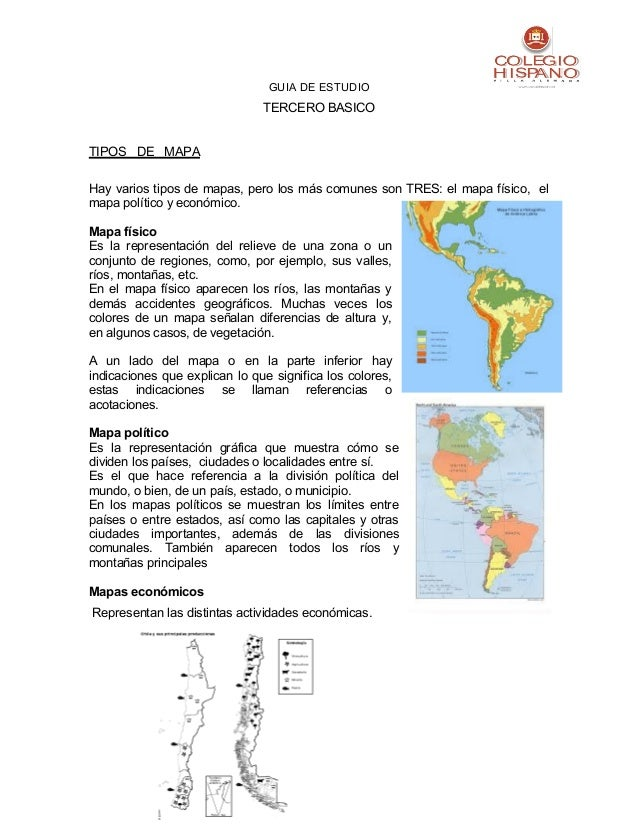 GUIA DE ESTUDIOTERCERO BASICOTIPOS DE MAPAHay varios tipos de mapas, pero los más comunes son TRES: el mapa físico, elmapa...