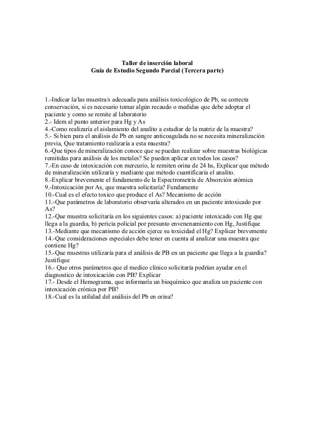 Taller de inserción laboral Guía de Estudio Segundo Parcial (Tercera parte)  1.-Indicar la/las muestra/s adecuada para aná...