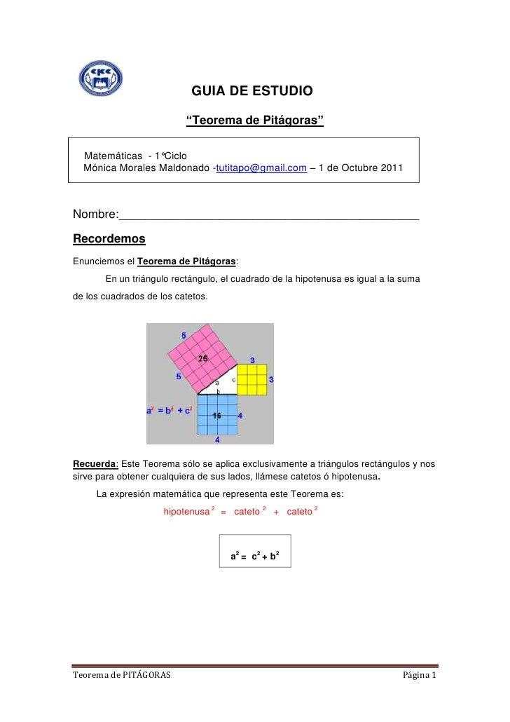 """GUIA DE ESTUDIO<br />""""Teorema de Pitágoras""""<br />    Matemáticas  - 1°CicloMónica Morales Maldonado -tu..."""