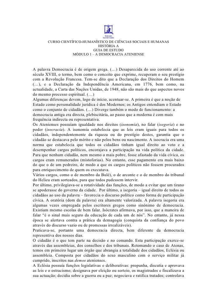 CURSO CIENTÍFICO-HUMANÍSTICO DE CIÊNCIAS SOCIAIS E HUMANAS                                 HISTÓRIA A                     ...