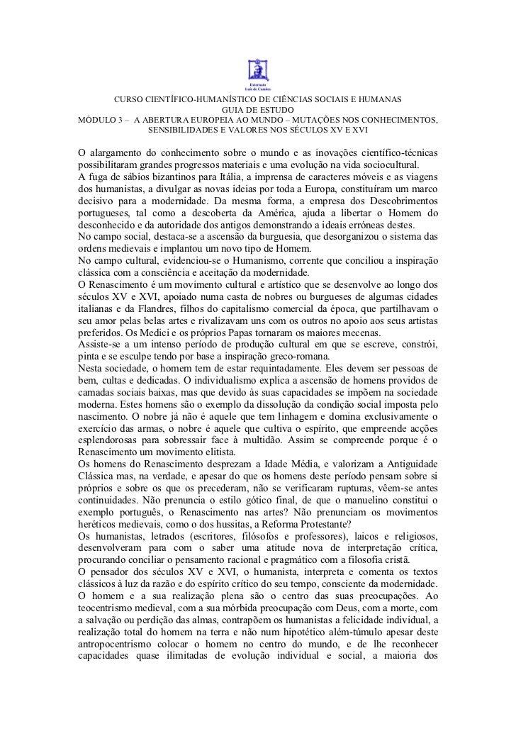 CURSO CIENTÍFICO-HUMANÍSTICO DE CI NCIAS SOCIAIS E HUMANAS                               GUIA DE ESTUDO MÓDULO 3 – A ABERT...