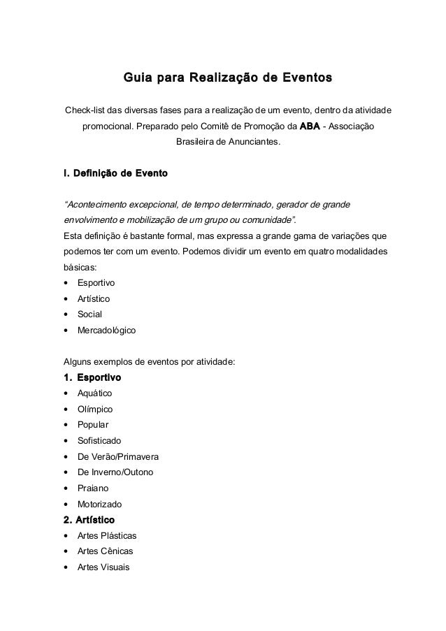 Guia para Realização de Eventos Check-list das diversas fases para a realização de um evento, dentro da atividade promocio...