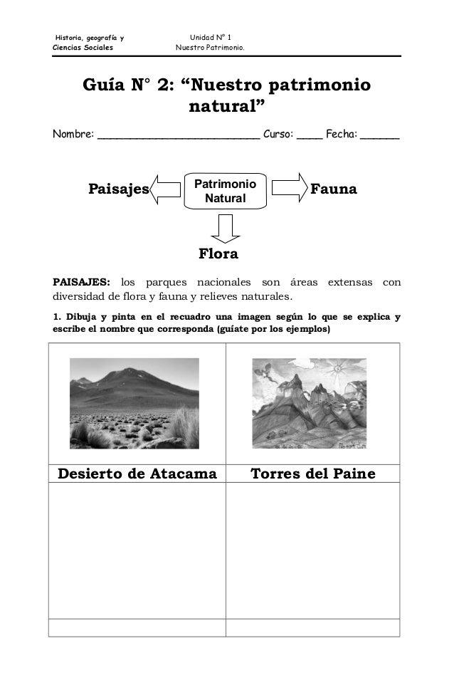 """Historia, geografía y  Ciencias Sociales  Unidad N° 1 Nuestro Patrimonio.  Guía N° 2: """"Nuestro patrimonio natural"""" Nombre:..."""