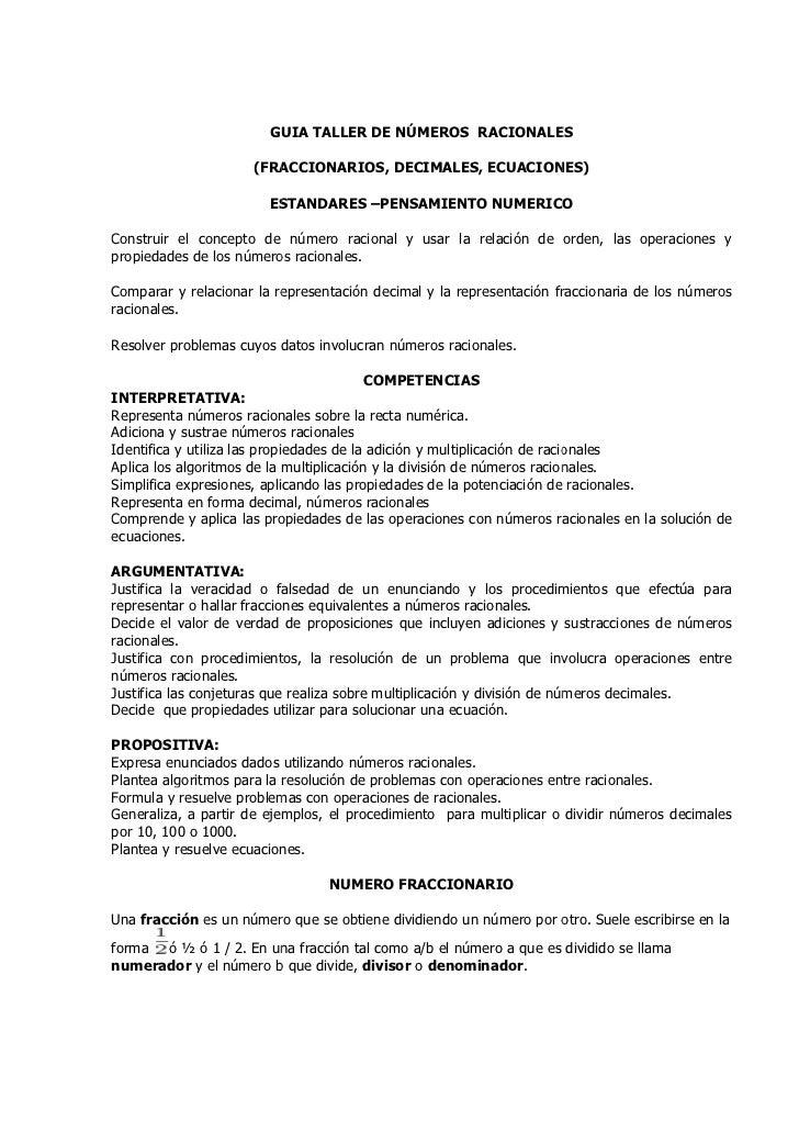 GUIA TALLER DE NÚMEROS RACIONALES                     (FRACCIONARIOS, DECIMALES, ECUACIONES)                        ESTAND...