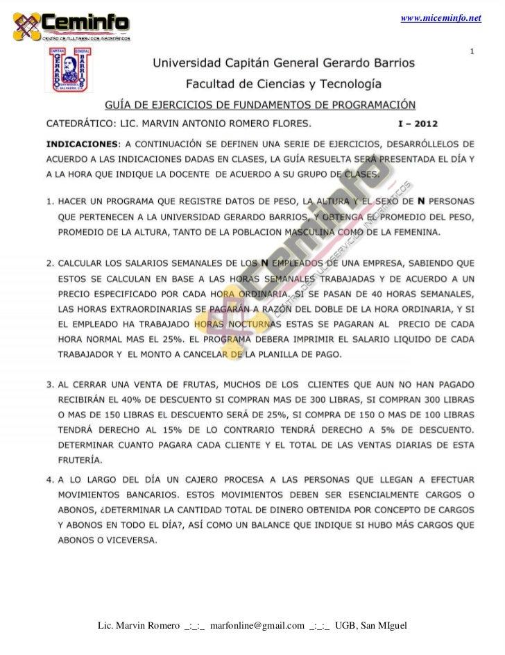 www.miceminfo.netLic. Marvin Romero _:_:_ marfonline@gmail.com _:_:_ UGB, San MIguel