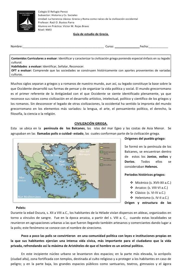 Colegio El Refugio Penco                    Subsector: Historia y Cs. Sociales                    Unidad: La herencia clás...