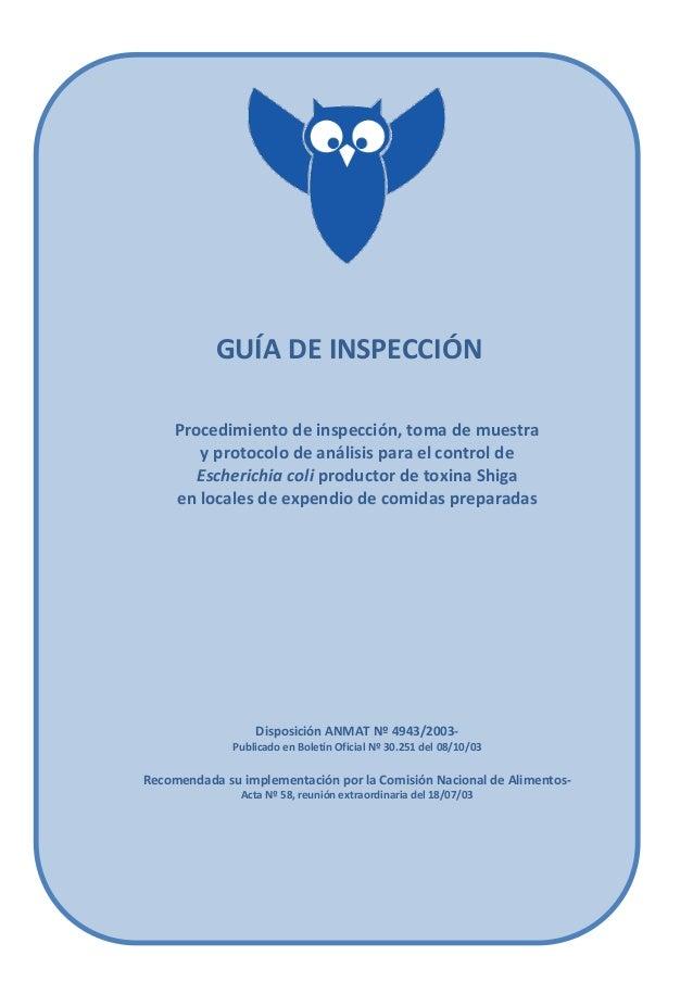GUÍA DE INSPECCIÓN Procedimiento de inspección, toma de muestra y protocolo de análisis para el control de Escherichia col...