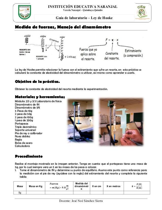 Docente: José Noé Sánchez Sierra Guía de laboratorio – Ley de Hooke INSTITUCIÓN EDUCATIVA NARANJAL Vereda Naranjal – Quimb...