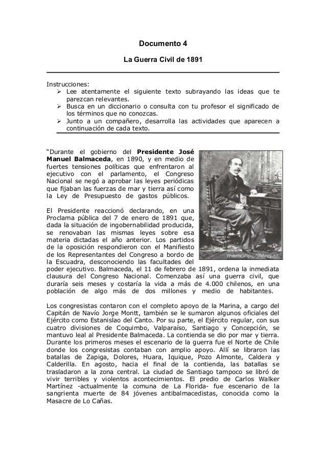 Documento 4 La Guerra Civil de 1891 Instrucciones:  Lee atentamente el siguiente texto subrayando las ideas que te parezc...