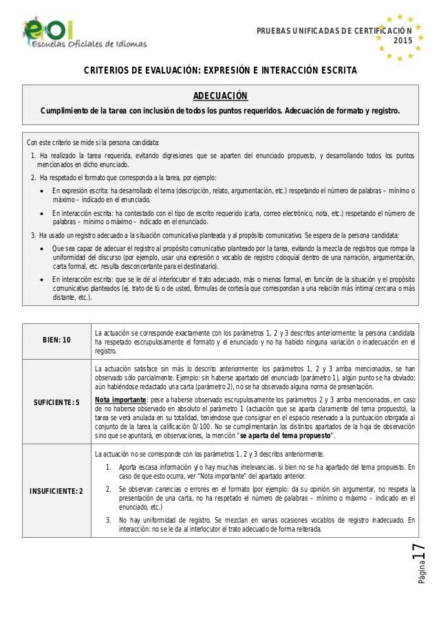 PRUEBAS UNIFICADAS DE CERTIFICACIÓN 2015 Página17 CRITERIOS DE EVALUACIÓN: EXPRESIÓN E INTERACCIÓN ESCRITA ADECUACIÓN Cump...