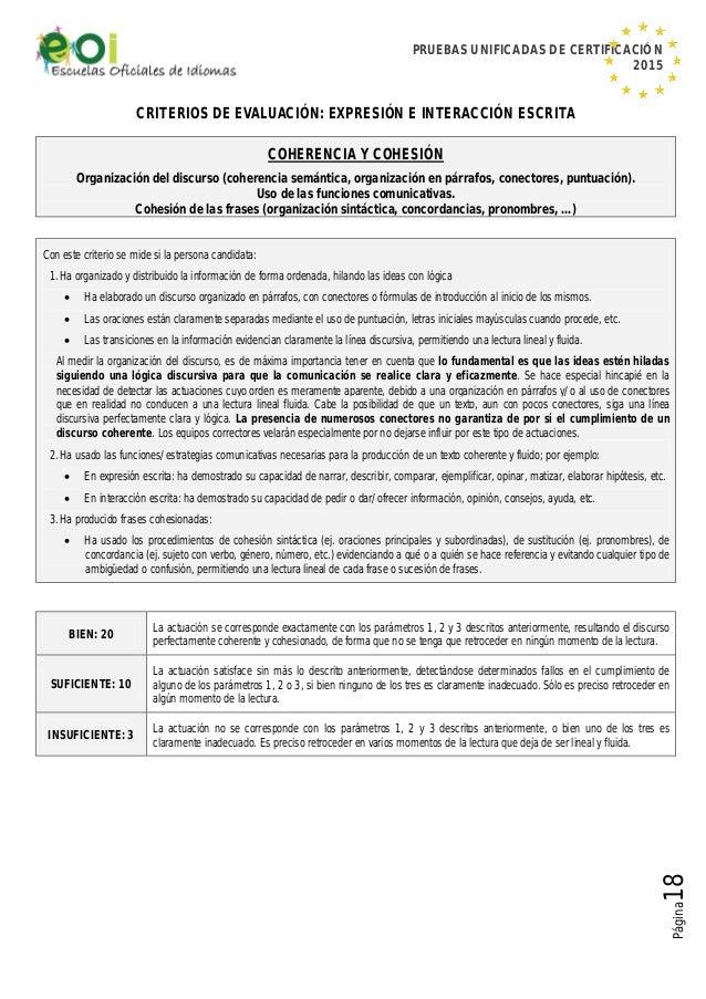 PRUEBAS UNIFICADAS DE CERTIFICACIÓN 2015 Página18 CRITERIOS DE EVALUACIÓN: EXPRESIÓN E INTERACCIÓN ESCRITA COHERENCIA Y CO...