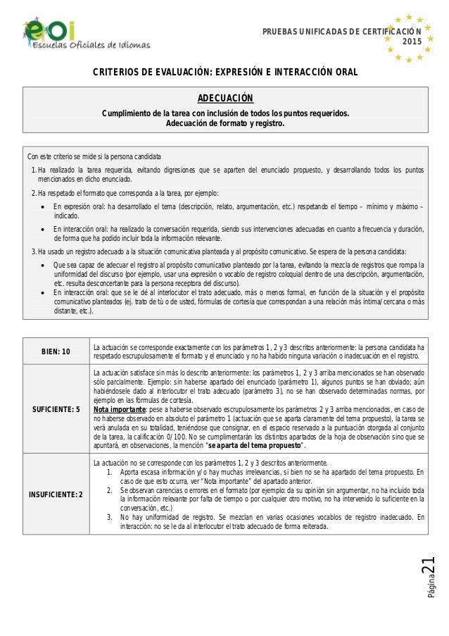 PRUEBAS UNIFICADAS DE CERTIFICACIÓN 2015 Página21 CRITERIOS DE EVALUACIÓN: EXPRESIÓN E INTERACCIÓN ORAL ADECUACIÓN Cumplim...
