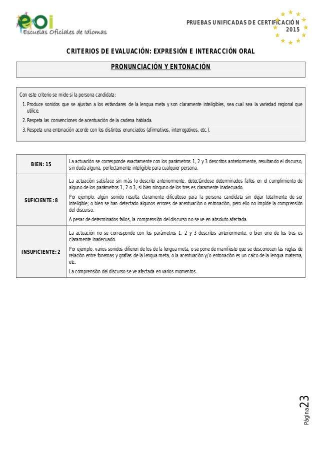 PRUEBAS UNIFICADAS DE CERTIFICACIÓN 2015 Página23 CRITERIOS DE EVALUACIÓN: EXPRESIÓN E INTERACCIÓN ORAL PRONUNCIACIÓN Y EN...
