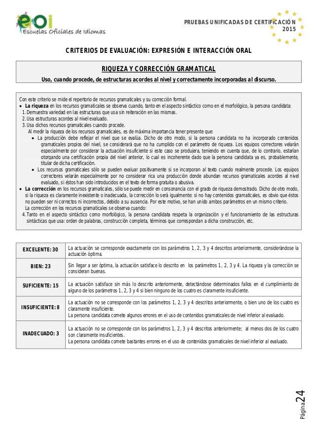 PRUEBAS UNIFICADAS DE CERTIFICACIÓN 2015 Página24 CRITERIOS DE EVALUACIÓN: EXPRESIÓN E INTERACCIÓN ORAL RIQUEZA Y CORRECCI...