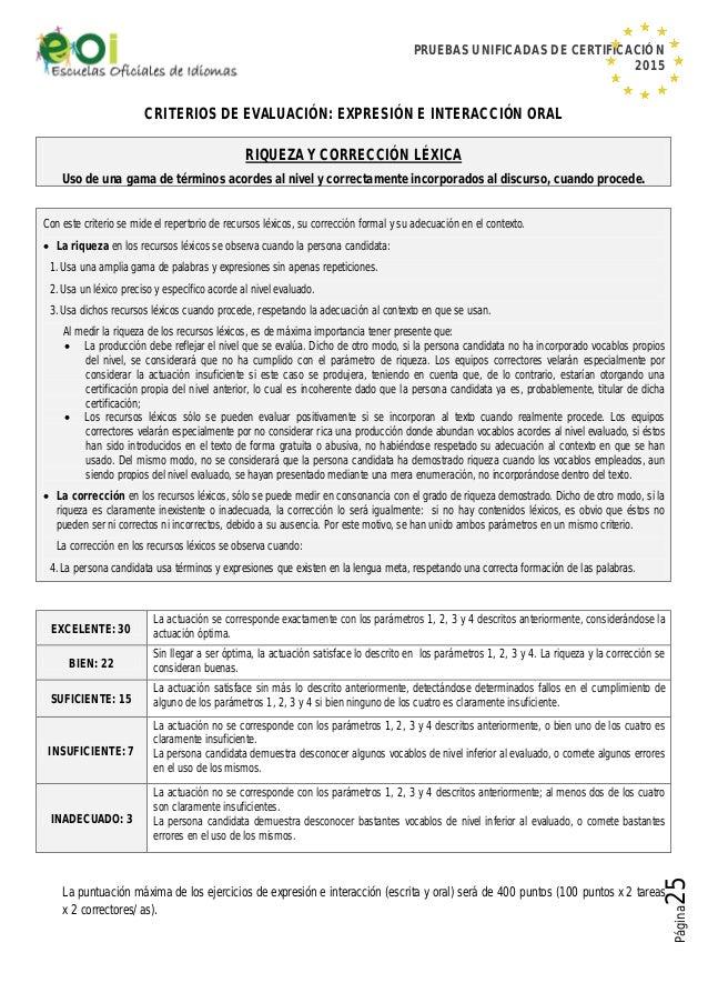 PRUEBAS UNIFICADAS DE CERTIFICACIÓN 2015 Página25 CRITERIOS DE EVALUACIÓN: EXPRESIÓN E INTERACCIÓN ORAL RIQUEZA Y CORRECCI...