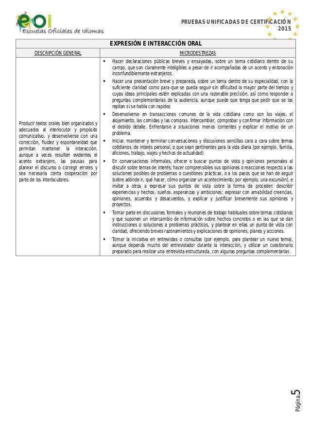 PRUEBAS UNIFICADAS DE CERTIFICACIÓN 2015 Página5 EXPRESIÓN E INTERACCIÓN ORAL DESCRIPCIÓN GENERAL MICRODESTREZAS Producir ...