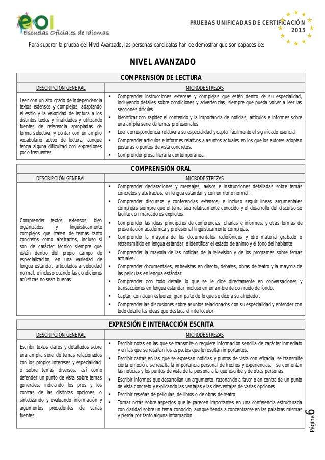 PRUEBAS UNIFICADAS DE CERTIFICACIÓN 2015 Página6 Para superar la prueba del Nivel Avanzado, las personas candidatas han de...