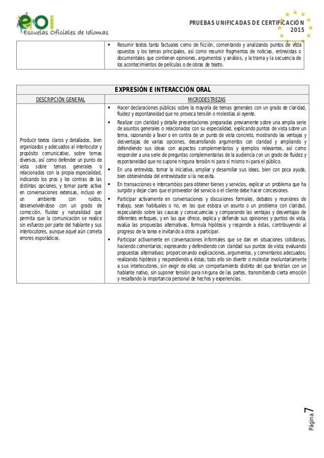 PRUEBAS UNIFICADAS DE CERTIFICACIÓN 2015 Página7  Resumir textos tanto factuales como de ficción, comentando y analizando...
