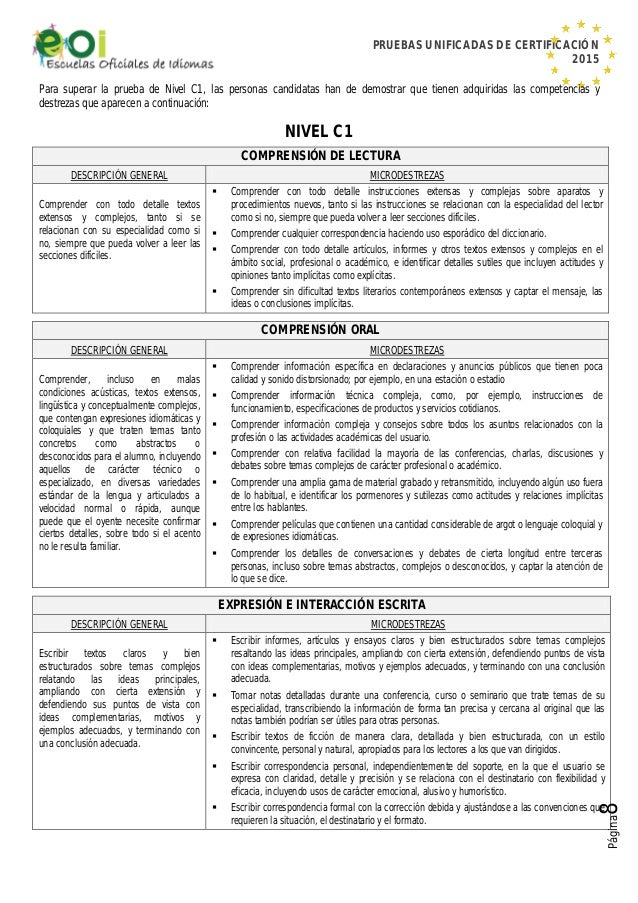 PRUEBAS UNIFICADAS DE CERTIFICACIÓN 2015 Página8 Para superar la prueba de Nivel C1, las personas candidatas han de demost...