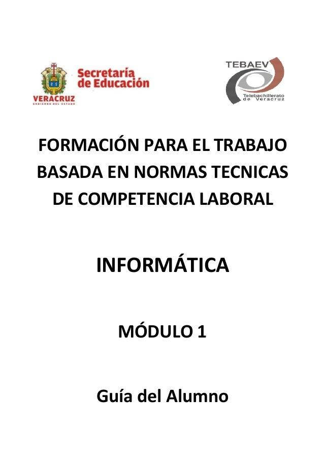FORMACIÓN PARA EL TRABAJO BASADA EN NORMAS TECNICAS DE COMPETENCIA LABORAL INFORMÁTICA MÓDULO 1 Guía del Alumno