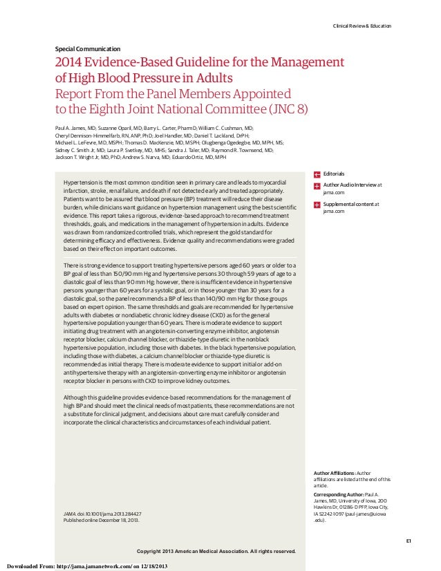 Clinical Review & Education  Special Communication  2014 Evidence-Based Guideline for the Management of High Blood Pressur...