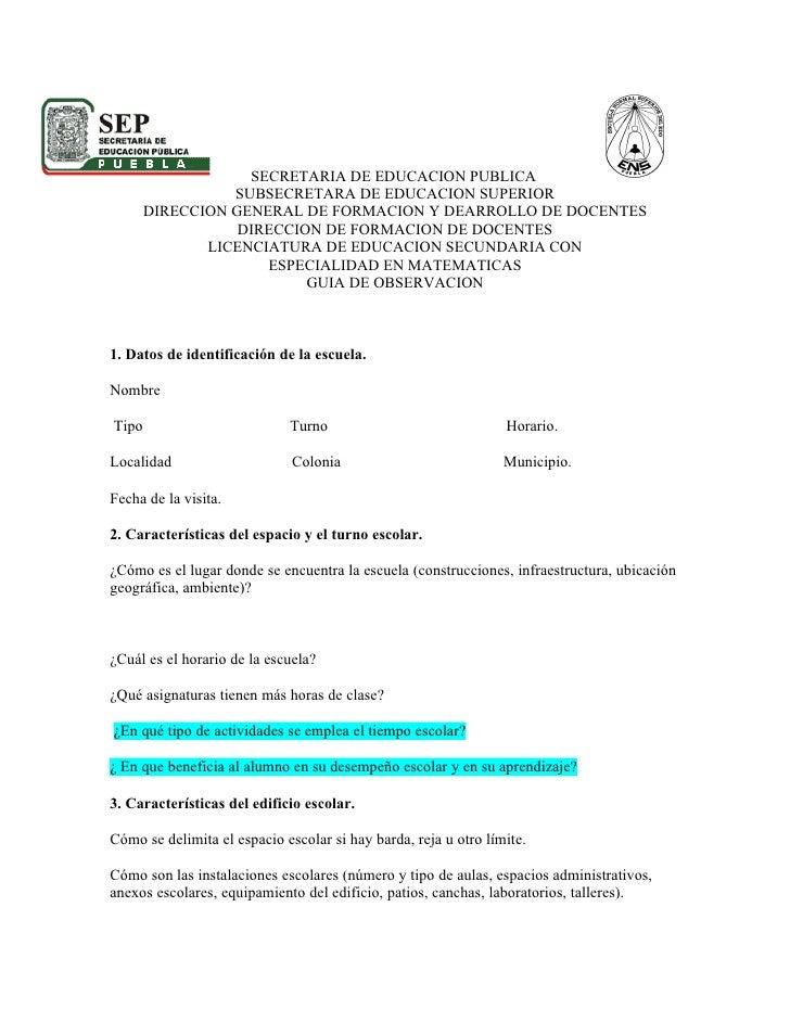 SECRETARIA DE EDUCACION PUBLICA                  SUBSECRETARA DE EDUCACION SUPERIOR        DIRECCION GENERAL DE FORMACION ...