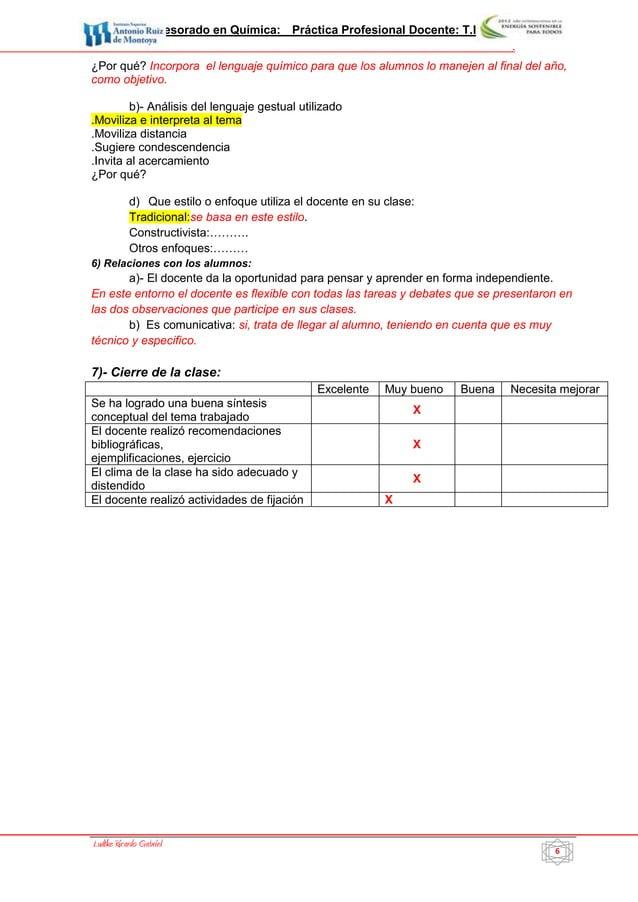 Profesorado en Química: Práctica Profesional Docente: T.I.P. IV           6                                               ...