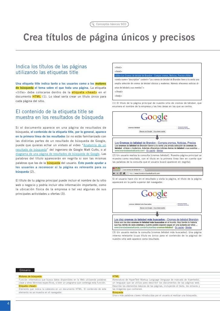 Conceptos básicos SEO          Crea títulos de página únicos y precisos    Indica los títulos de las páginas              ...