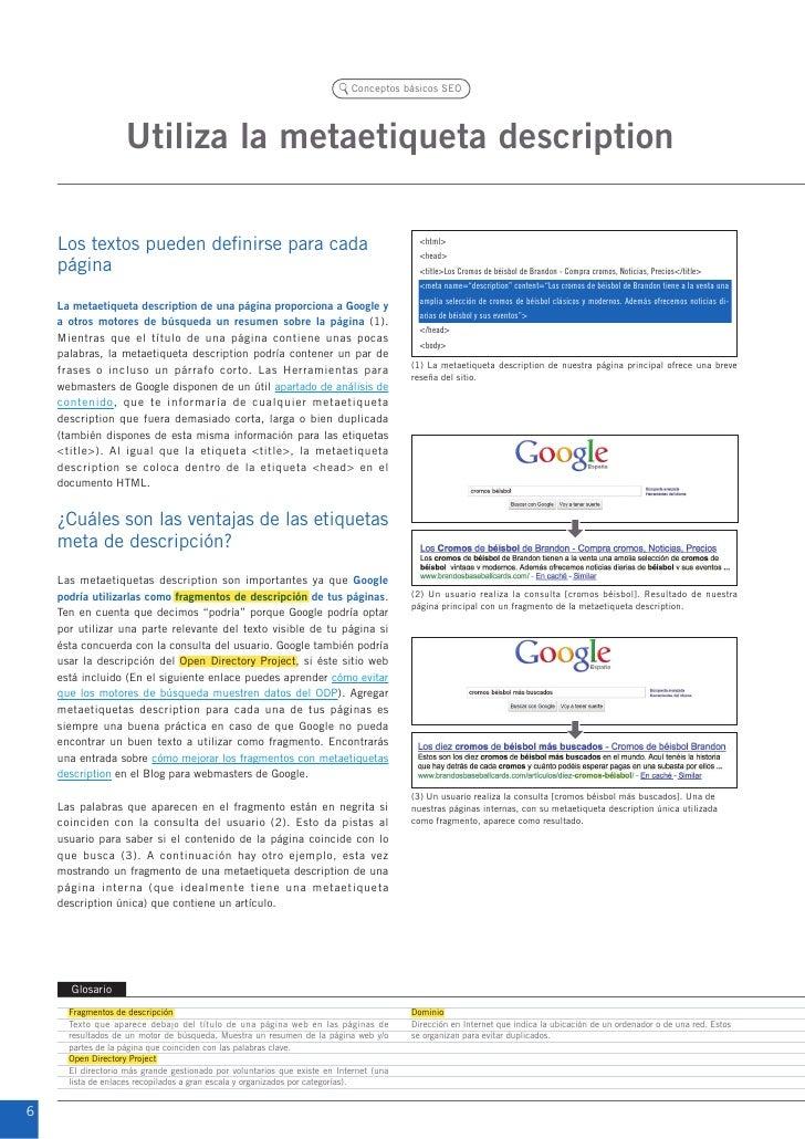 Conceptos básicos SEO                    Utiliza la metaetiqueta description    Los textos pueden definirse para cada     ...