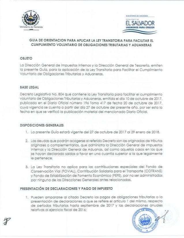 Guia de Orientacion para Aplicar la Ley Transitoria para Facilitar el Cumplimiento Voluntario de Obligaciones Tributarias ...