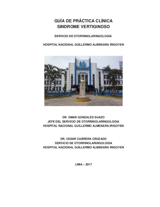 GUIA DE PRACTICA CLINICA DE SINDROME VERTIGO