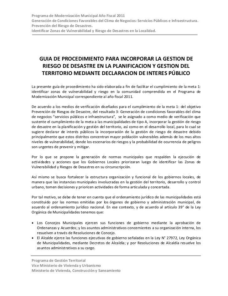 Programa de Modernización Municipal Año Fiscal 2011Generación de Condiciones Favorables del Clima de Negocios: Servicios P...