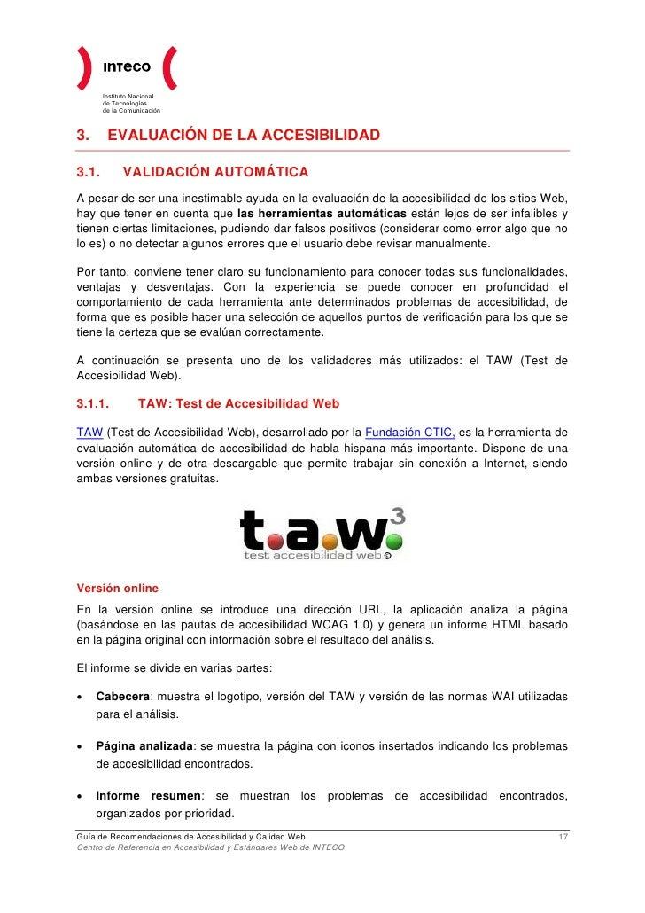 Guia de recomendaciones de accesibilidad y calidad web 2009 for Que es accesibilidad