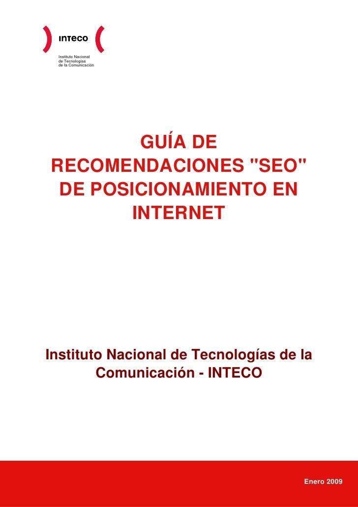 Guía de recomendaciones SEO de posicionamiento en internet 2009