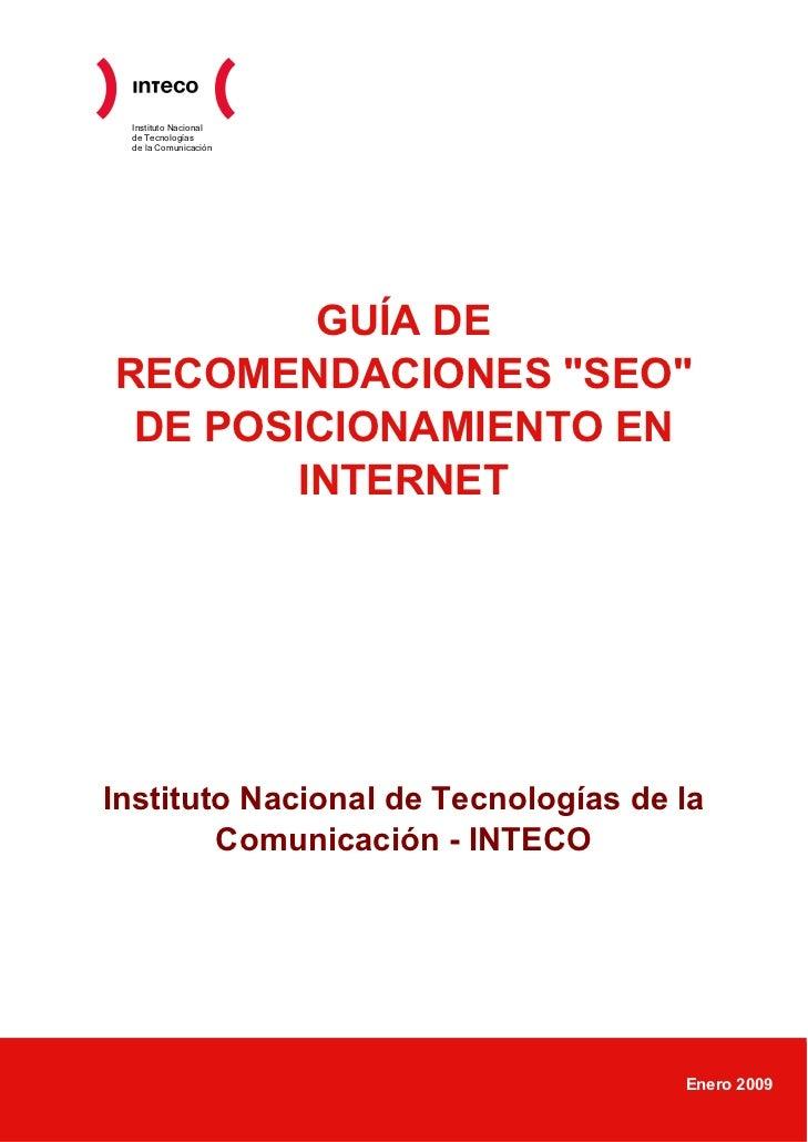 """Instituto Nacional de Tecnologías de la Comunicación        GUÍA DERECOMENDACIONES """"SEO"""" DE POSICIONAMIENTO EN       INTER..."""