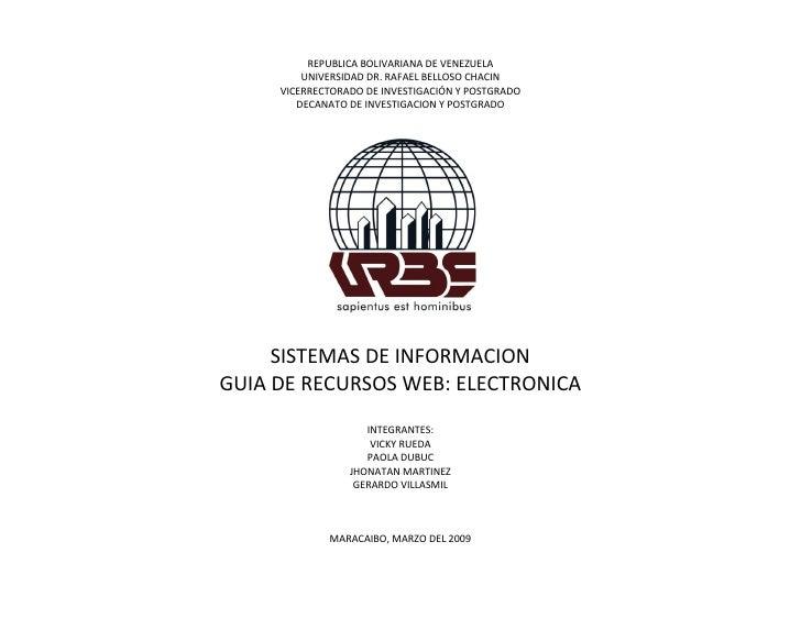 REPUBLICA BOLIVARIANA DE VENEZUELA          UNIVERSIDAD DR. RAFAEL BELLOSO CHACIN      VICERRECTORADO DE INVESTIGACIÓN Y P...