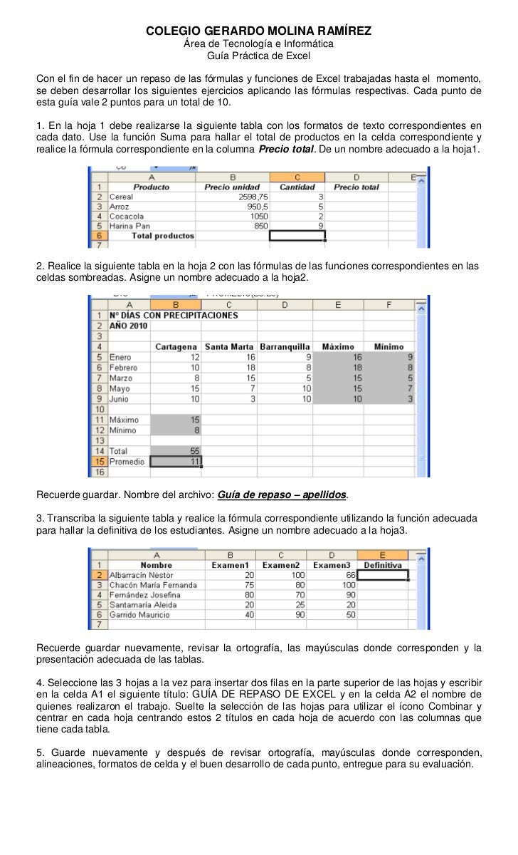 Guia de repaso de formulas y funciones en excel