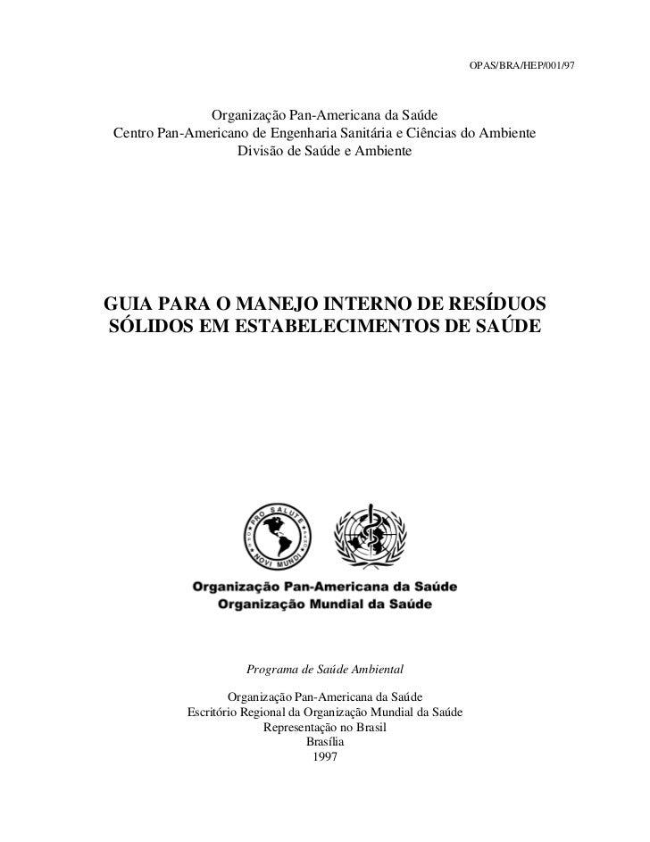 OPAS/BRA/HEP/001/97              Organização Pan-Americana da SaúdeCentro Pan-Americano de Engenharia Sanitária e Ciências...